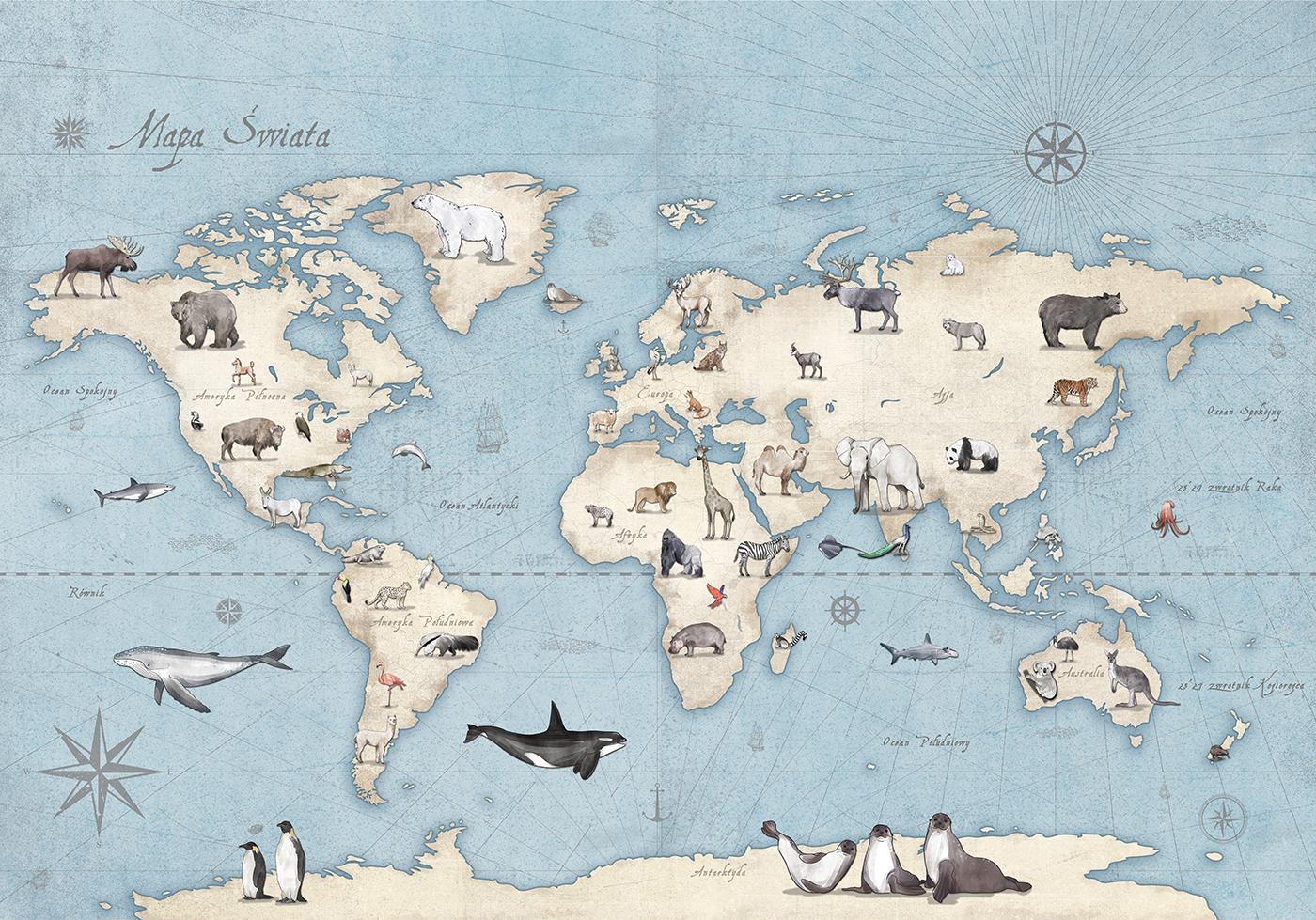 Edukacyjny pokój z mapą dla małego geografa